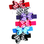 "1.5"" Stretch Headwrap w/ 4.5"" Gro Grain Chervon Bow"