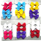 "4 Pack 2.5"" Gro Grain Bow Ponytail Holders 12-4 pks"