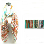 "32"" X 72"" Stripe & Flower Print Fashion Scarf/Wrap Around"