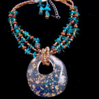 "3 Strand Gold Bead & Shell Neck Set w/ 3"" Resin Pendant Turq Color sold by set"