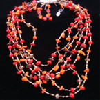 "16"" 6 Strand Seed & Shell Bead Orange Neck Set sold by set"