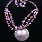 "16"" 3 Strand Bead & Purple Shell Neck Set w/ 2"" Glass Pendant sold by set"
