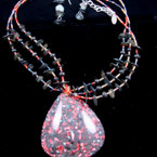 3 Strand Chip Shell & Red  Bead Neck Set w/ Triangle Resin Pend.  sold by set