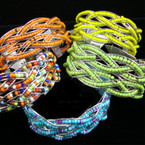 "1"" Silver Cuff Fashion Bracelet w/ Spring Color Seed Beads"