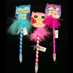 "8"" Fury Owl Theme Fashion Pen 12 per display can"