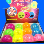 "3"" Flashing Sqeaky Spiky Ball 12 per display bx"