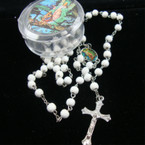 All White Wood Beaded Rosary in Keepsake Box 12 sets per pk