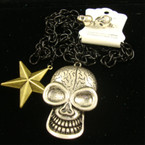 "34"" Black Link Chain Neck Set w/ Gold Star & 3"" Skull Pend. sold by set ON SALE"