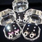 3 Pair Earrings in Gift Box Crystal Stud Plus Bow Style