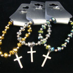 Metalic Color Crystal Stone Stretch Bracelet w/ Silver Cross