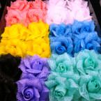 "3"" Silk Flower & Lace Spring Color Bow on Gator Clip 24 per bx"