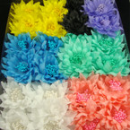 "3"" Silk Flower & Mini Pearl Spring Color Bow on Gator Clip 24 per bx"