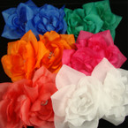 "4"" Silk Flower & Center Clear Stone Bright Color Bow on Gator Clip 24 per bx"