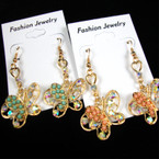 Petite Gold & Silver Butterfly  Earring w/ Crystals & Mini Bubble Beads