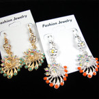 Petite Gold & Silver Fan Shape Earring w/ Crystals & Mini Bubble Beads