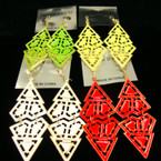 "3"" Asst Summer Color Fashion Earring Triangle Shape .25 each"