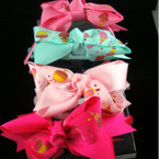 "Satin Headband w/ 4"" Ice Cream Print Bow Asst Colors"
