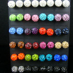 Fire Ball Crystal Stone Earrings 24 pair display unit
