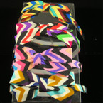 "Chevron Print 3.5"" Bow Headband Asst Colors  CLOSEOUT .25 each"
