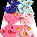 "5"" Ice Cream Theme Bow on Stretch Headband  .50ea"