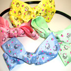 "Gro Grain Fashion Headband w/ 5"" Cup Cake  Print Bow .54 ea"