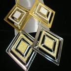 """3"""" Diamond Lightweight Gold & Silver Earring w/ Glitter .50 ea"""