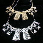 """16"""" Gold & Silver Chain Necklace w/ 4.5""""  Greek Style Bar Pendant"""