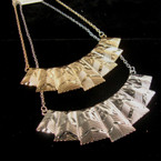 """16"""" Gold & Silver Chain Necklace w/ 3.75"""" Chunky Bar Pendant w/ Design"""