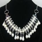"""18"""" Gold & Silver Chain Neck Set w/ Multi Acrylic Dangle Pearls .60 ea"""