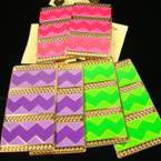 "3"" Rectangle  Metal Two Tone Chevron Print Fashion Earring"