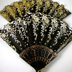 "9"" Fashion Fan Black w/ Gold & Silver Glitter Floral Pattern"