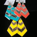 """3.25"""" Triangle Chevron Pattern Summer Color Earring Gold/Sil .54 ea"""