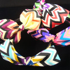 "Chevron Print Fashion Headband w/ 5"" Bow Mixed Colors REDUCED  .25 each"