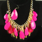 "16"" Gold Fashion Neck Set w. Fusia Beads,Crystals & Dangle Chains sold by set"