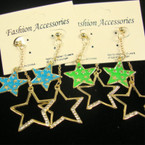 Gold Chain Earring w/ DBL Star Color & Crystal Stones .21 each