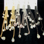 "5"" Shoulder Duster Multi Chain Earring w/ Crystal Beads 3 colors"