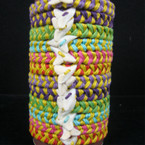 Two Tone Bright Color Macrame Bracelet w/ Real Shark Tooth .54 ea