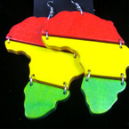 "3"" Wood Rasta Color Africa Map Earrings .52 ea"