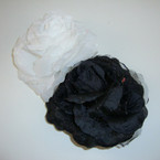 "4.5"" Black & White Silk Flower Bow  w/ Hint of Glitter 3 in1  Use .54 ea"