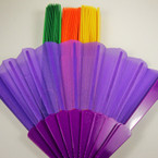 "9"" Mixed Bright Color Fabric Novelty Fan .54 ea"