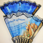 "9"" Black Lace Fabric Fan w/ Mixed Bible Verses Imprinted .54 ea"