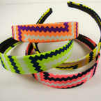 Neon Color Zig Zag Print Fashion Headband .54 ea