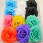 "4"" Asst Color Silk Flower Bow w/ Pearl Center 3 in 1 Use  .54 ea"