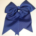 "5"" X 6"" Big Gro Grain Bow on Gator Clips w/ Tails .56 ea All Navy Blue"