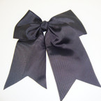 "5"" X 6"" Big Gro Grain Bow on Gator Clips w/ Tails .56 ea All Black"