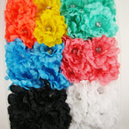 "3"" Ruffled Silk Flower Bow w/ Clear Stone on Gator Clip 24 per bx Asst Colors  .27 ea"