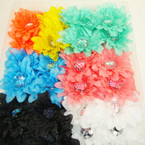 "3"" Ruffled Silk Flower Bow w/ Dia. Cut Clear Stone on Gator Clip 24 per bx Asst Colors  .27 ea"