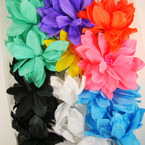 "5"" Floppy Silk Flower w/ Center Beads 3 in 1 Use Fashion Bow Mixed Colors .54 ea"