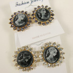 Elegant Rd. Cameo Earrings w/ Crystal Stones .54 ea