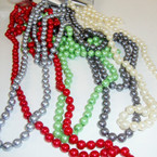 "28"" -36"" Glass Pearl Necklace Asst Colors Only .54 ea"